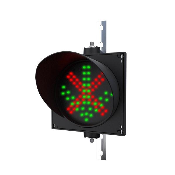 Ampel 2:1 mit 200 mm LED-Modul rot(X)/grün(Pfeil) und einstellbarer Halterung