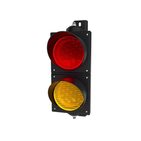 Ampel rot/gelb mit LED-Modulen Ø 100mm etwas kleiner als eine Verkehrsampel
