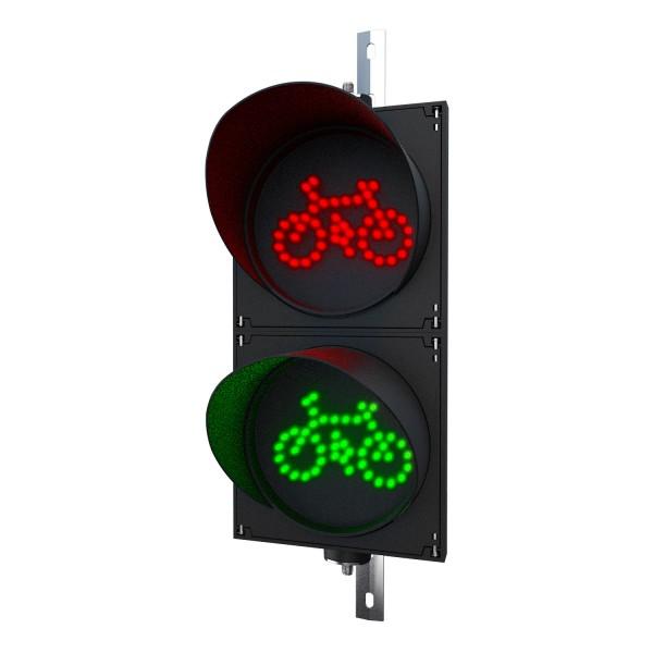 Fahrradampel mit 200 mm LED-Modulen rot/grün und einstellbarer Halterung