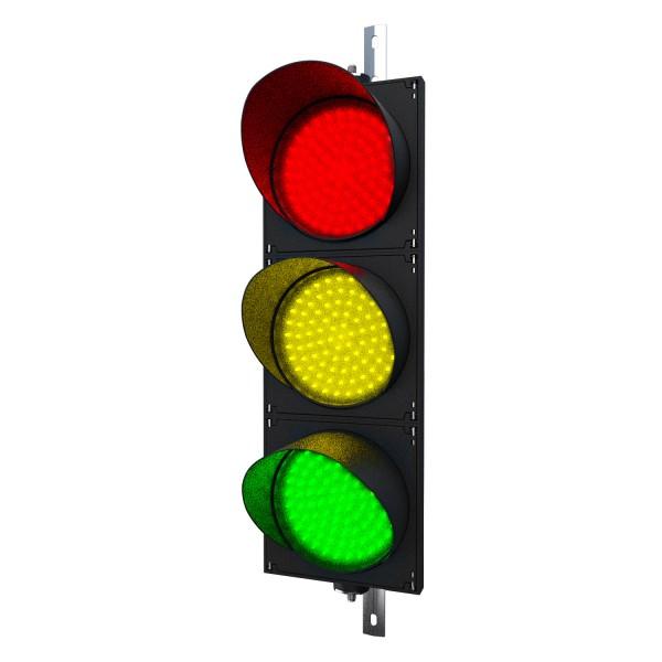 Ampel mit 200 mm LED-Modulen rot/gelb/grün und einstellbarer Halterung
