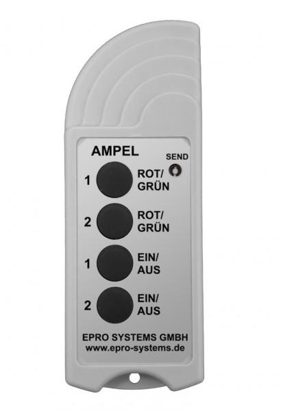 Funkfernbedienung mit Taster ROT/GRÜN und EIN/AUS für zwei Ampeln ROT/GRÜN