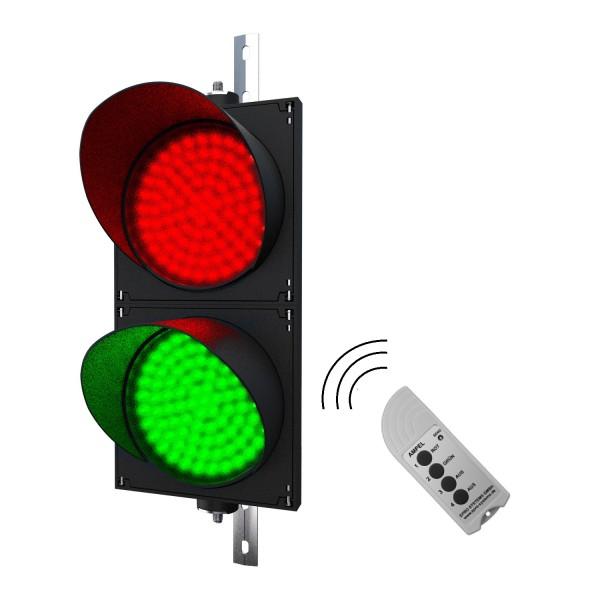 Funk-Ampel rot/grün mit Fernbedienung mit 200 mm LED-Modulen in der Größe einer Verkehrsampel