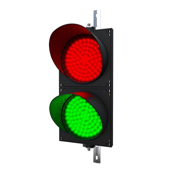 Ampel mit 200 mm LED-Modulen rot/grün und einstellbarer Halterung
