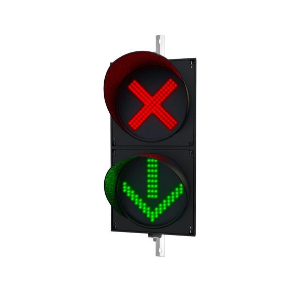 Ampel mit 300 mm LED-Modulen rot(X)/grün(Pfeil) und einstellbarer Halterung