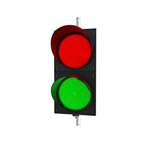 Ampel mit 400 mm LED-Modulen rot/grün und einstellbarer Halterung