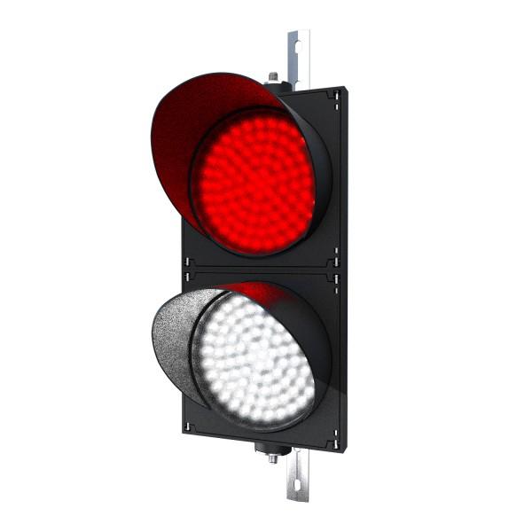 Ampel rot/weiß mit LED-Modul 200 mm in der Größe einer Verkehrsampel und einstellbarer Halterung