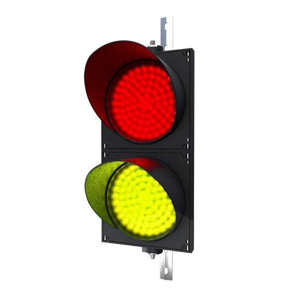 Ampel rot/gelb mit LED-Modul Ø 200 mm in der Größe einer Verkehrsampel und einstellbarer Halterung