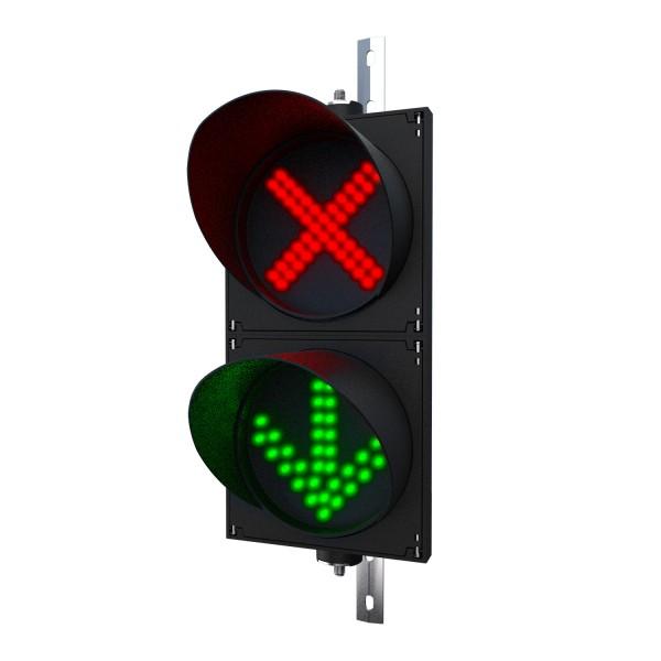 Ampel mit 200 mm LED-Modulen rot(X)/grün(Pfeil) und einstellbarer Halterung