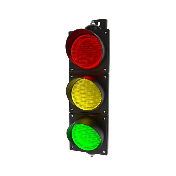Ampel mit 100 mm LED-Modulen rot/gelb/grün und einstellbarer Halterung