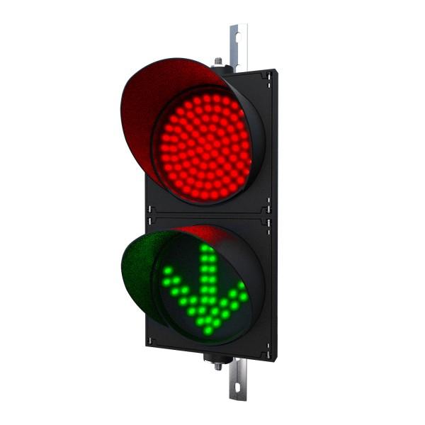 Ampel mit 200 mm LED-Modulen rot/grün(Pfeil) und einstellbarer Halterung